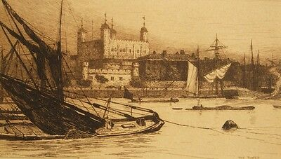 Original sepia etching; 'The Tower; Thames London' Wilfred Ball, 1886.