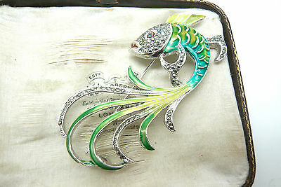 Vintage Jewellery Enamel Marcasite Trpical Fish Brooch Pin