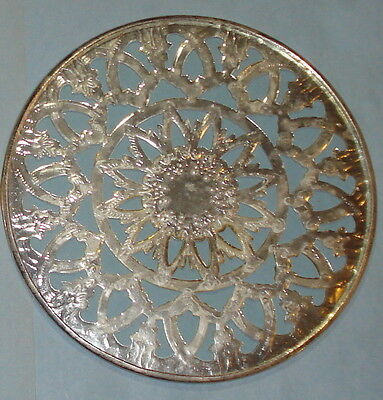 Ornate Silver Metal & Glass Covered Trivet