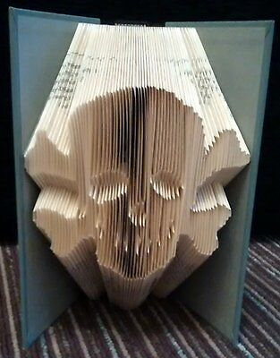 Folded Book Art Skull Pirate Gothic Steampunk Handmade Upcycled Book Sculpture