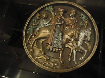 Marcus Designs Medieval Courting Scene Circular  Wall Plaque