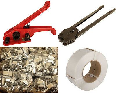 Hand Heavy Duty Pallet Banding Strapping Kit Sealer 12mm Roll 2000 Seals From UK