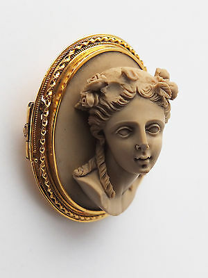 Finest Victorian Grand Tour Lava Cameo Brooch Pin with unmarked Gold tone Frame