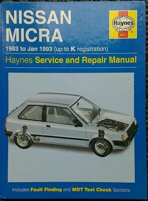 Nissan Micra Haynes Service and Repair manual 1983 to 1993 (up to K reg) 1.0 1.2