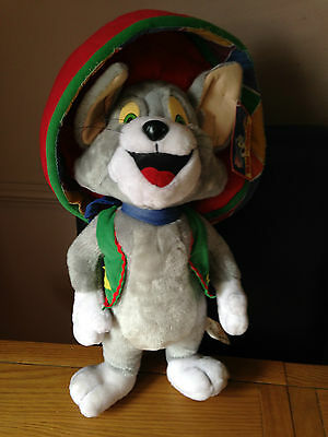 """Tom & Jerry"""" Large Tom in Sombrero and waistcoat Soft Toy, 2000 with Tag, 19"""" H"""
