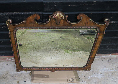 DELIGHTFUL ANTIQUE FRENCH VENEERED DECORATIVE WALL MIRROR, 19th CENT.