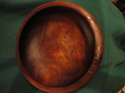 Wooden Bowl, 12-1/2 in wide, Curled edge - Vintage