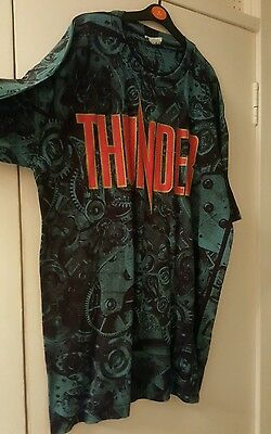 Vintage Thunder Heavy Metal T Shirt All Over Pattern Blue XL