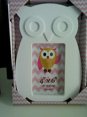 large pair 2 of White Owl Picture Photo Frame Shabby Chic Wall Hanging home gift