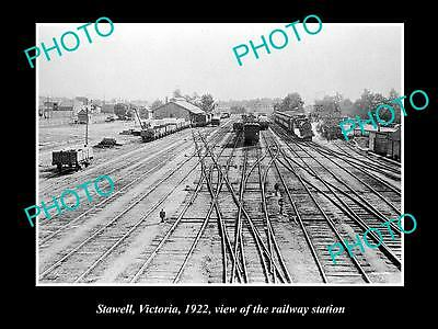 OLD LARGE HISTORIC PHOTO OF STAWELL VICTORIA, VIEW OF THE RAILWAY STATION c1922