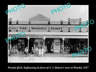 OLD LARGE HISTORIC PHOTO OF WONDAI QLD, VIEW OF BOISENS GENERAL STORE c1920s