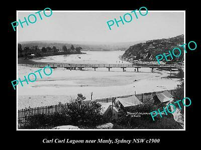 OLD LARGE HISTORICAL PHOTO OF THE CURL CURL LAGOON, NEAR MANLY NSW c1900