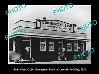 OLD LARGE HISTORIC PHOTO OF JULIA CREEK QLD, COMMERCIAL BANK OF AUSTRALIA c1934