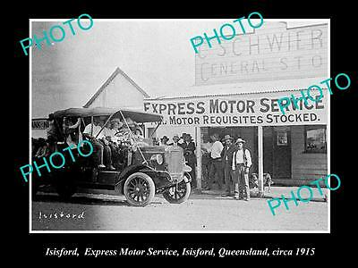 OLD LARGE HISTORIC PHOTO OF ISISFORD QLD, THE EXPRESS MOTOR GARAGE c1915