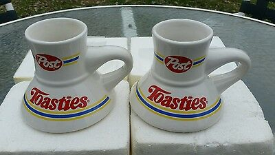 Post Toasties Cereal  2 Vintage Travel Ceramic Coffee Cups Mugs Wide Base Nos
