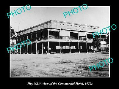 OLD LARGE HISTORICAL PHOTO OF HAY NSW, VIEW OF THE COMMERCIAL HOTEL c1920