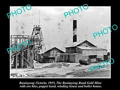 Old Large Historical Photo Of Buninyong Victoria, View Of The Gold Mine 1935