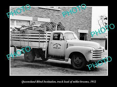 Old Large Historic Photo Of The Queensland Blind Institue Truck With Brooms 1952