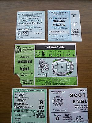 11 x England Tickets Home Away 1967 - 1998 Collection