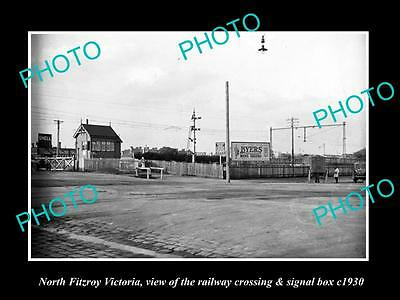 OLD LARGE HISTORIC PHOTO OF FITZROY VICTORIA, RAILWAY STATION SIGNAL BOX c1930