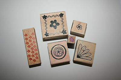 Lot of Flower Rubber Mounted Wooden Stamps