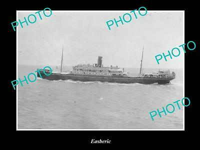 OLD LARGE HISTORIC MERCHANT SHIP PHOTO OF THE STEAMSHIP SS EASBERIC c1920s