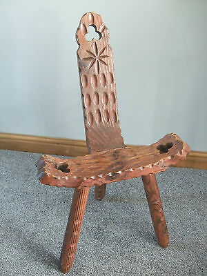 Spinning Chair With Club Cut Outs 3 Legged Charming Piece Vgc
