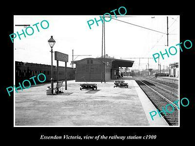 Old Large Historic Photo Of Essendon Victoria, The Railway Station 1900