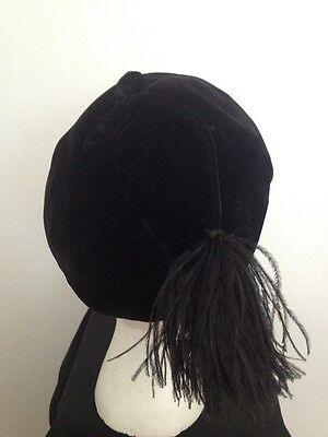 Vintage 1940's Black Velvet Hat With Ostrich Feather Tassel Fitted Beanie Style