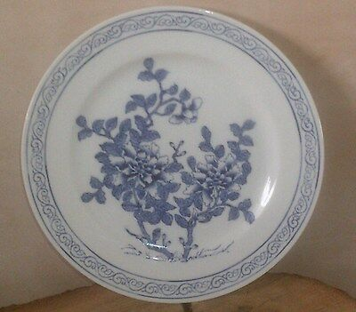 A Beautiful Chinese/Hong Kong Ceramic Plate With Blue Floral Design