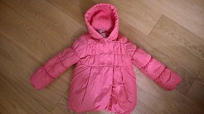 Girls M&S winter pink hooded coat, size 6-7 years
