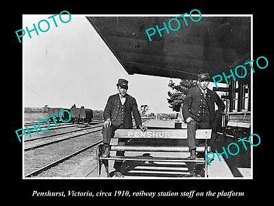 Old Large Historic Photo Of Penshurst Vic View Of The Railway Station Staff 1910