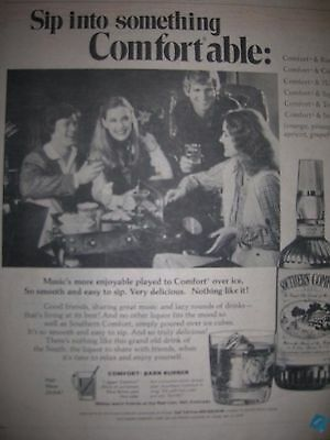 Vintage Southern Comfort Advertisement Pinup Poster Liquor Something Comfortable