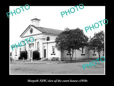 OLD LARGE HISTORICAL PHOTO OF MORPETH NSW, VIEW OF THE OLD COURT HOUSE c1950