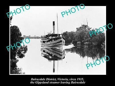 Old Large Historic Photo Of Bairnsdale Vic, The Gippsland Steamer On River 1935