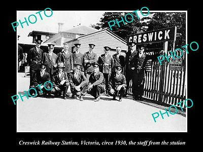 Old Large Historic Photo Of Creswick Vic, View Of Railway Station & Staff 1930