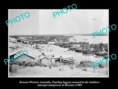 OLD LARGE HISTORIC PHOTO OF BROOME WESTERN AUSTRALIA, PEARL BOATS IN SHORE c1905