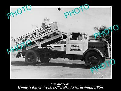 OLD LARGE HISTORIC PHOTO OF LISMORE NSW, HENSLEY's DELIVERY TRUCK c1950, BEDFORD