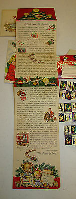 Vintage 1960's Christmas Cards Chairty Stamps Fold Out  Night Before Christmas