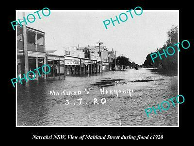 OLD LARGE HISTORICAL PHOTO OF NARRABRI NSW, VIEW OF MAITLAND St FLOODED 1920
