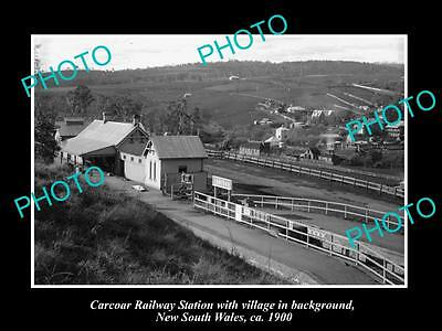 OLD LARGE HISTORIC PHOTO OF CARCOAR NSW, VIEW OF THE RAILWAY STATION c1900