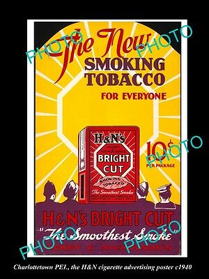 OLD LARGE HISTORIC PHOTO OF CHARLOTTETOWN PEI, THE H&N TOBACCO POSTER c1940
