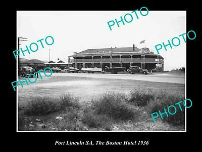 OLD LARGE HISTORICAL PHOTO OF PORT LINCOLN SA, VIEW OF THE BOSTON HOTEL c1936