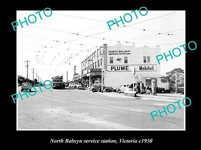 OLD LARGE HISTORIC PHOTO OF NORTH BALWYN MOBIL SERVICE STATION c1950, VICTORIA