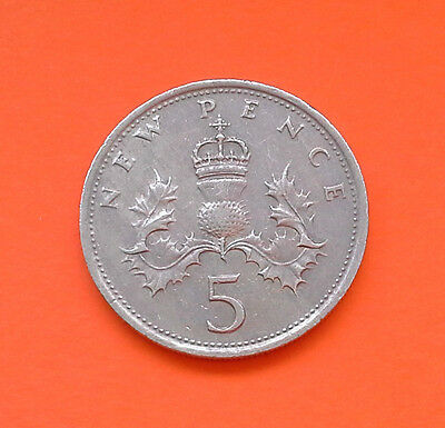 5 New Pence Coin. 1971.