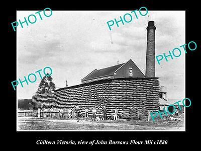 OLD LARGE HISTORICAL PHOTO OF CHILTERN VICTORIA, THE BURROWS FLOUR MIL c1880