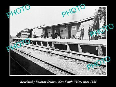 OLD LARGE HISTORIC PHOTO OF BROCKLESBY NSW, VIEW OF THE RAILWAY STATION c1925