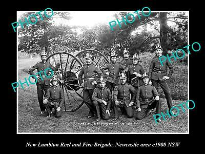 OLD LARGE HISTORICAL PHOTO OF THE NEW LAMBTON FIRE BRIGADE, NEWCASTLE NSW c1900