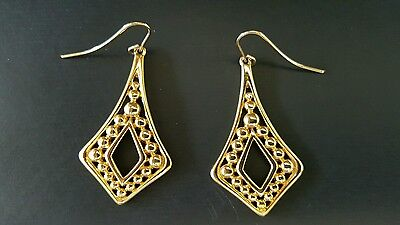 MonetTriangle With Dots Gold Tone Earrings