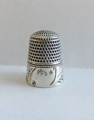 Antique Sterling Silver Barker Mfg. Co. Thimble Sz. 7 Floral Band